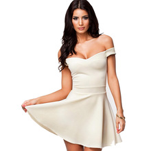 Elegant Party Dresses 2017 Black White Red All The Rage Slash Neck Off  Shoulder Skater Dress 190fa159c4ac