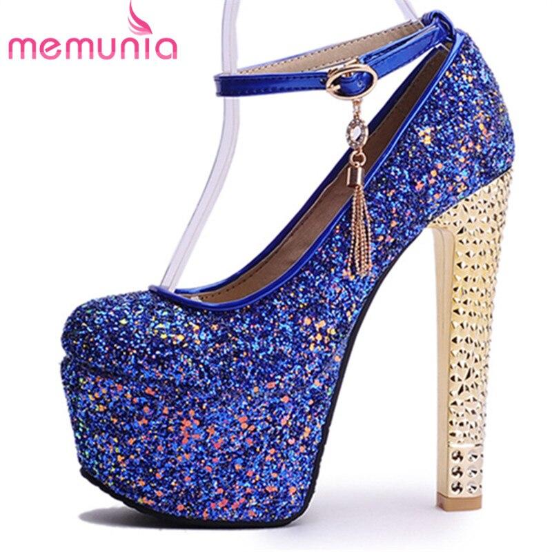MEMUNIA 2019 セクシーなハイヒールの靴女性のファッションバックルグリッター女性は夏の靴シンプルなクラシックレディースプラットフォームシューズ  グループ上の 靴 からの レディースパンプス の中 1