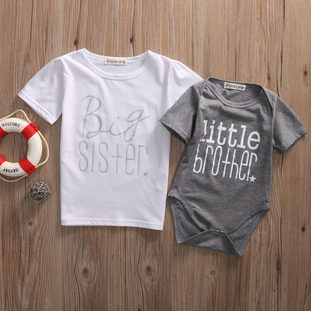 b1f4cced8 Infant Baby Boys Little Brother Romper Kids Big Sister T shirt ...