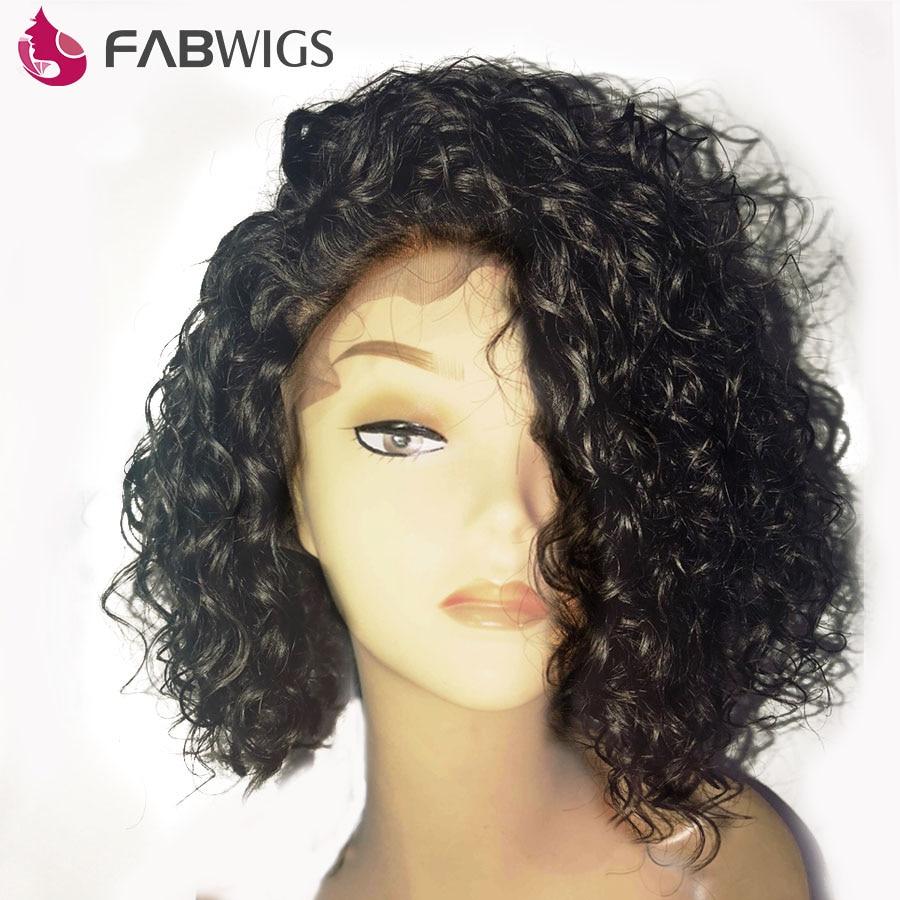 Fabwigs 180% Densidade Curly Parte Dianteira Do Laço Perucas de Cabelo Humano com o Bebê Pré cabelo Arrancado Curto BoB Peruca Para Mulheres Remy Preto Natural