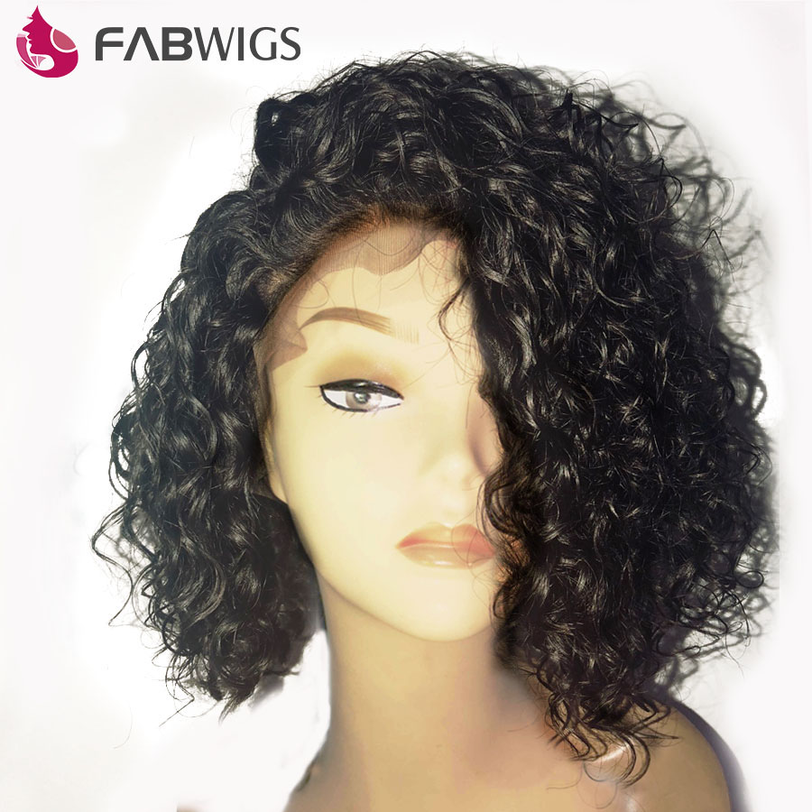 Human Hair Lace Wigs Lace Wigs Boucy Curly Human Hair Short Bob Wigs 180% Density Lace Front Human Hair Wigs Pre-plucked Brazilian Remy Hair Wigs