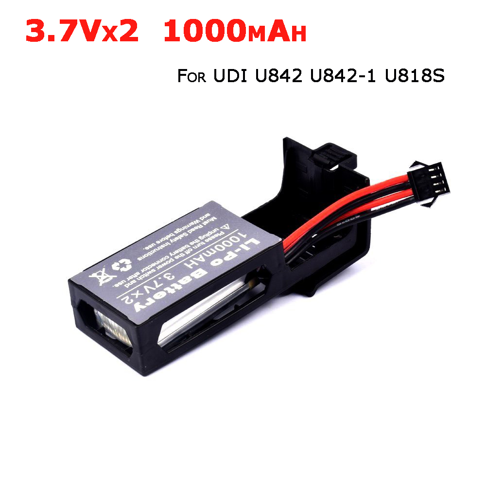 Original 7.4V 1000mAh Li-Po Battery for Udi U842 U842-1 U818S RC Quadcopter Drone Spare Parts 3 7v 1000mah battery for sjr c sjrc s20 s20w rc quadcopter spare parts accessories