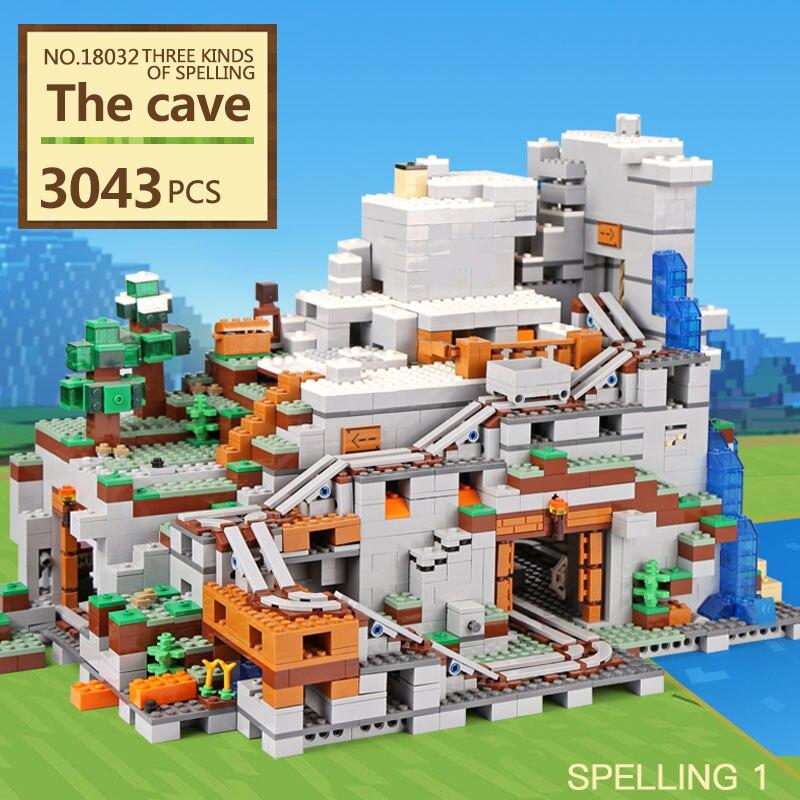 LEPIN 18032 Modèle Kit de Construction Blocs Briques Miniecraft 2932 pcs La Montagne Grotte Mon mondes Compatible avec legoing 21137