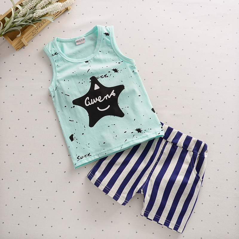 Hot Baby Boys Clothing Set New Summer Cotton Kids Vest+Striped Shorts Suit Newborn Sport Suits Children Baby Boys Girls Clothes