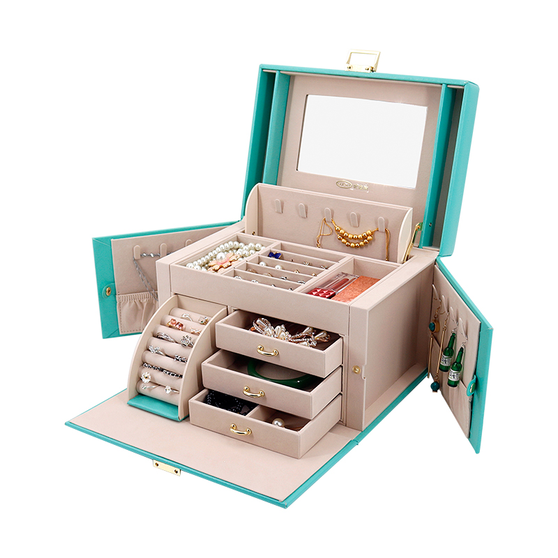 2019 Nouvelle Mode En Cuir Boîte à Bijoux Boîte Cadeau pour Bijoux Emballage Affichage Grand Exquis Maquillage Cas De Luxe Bijoux Organisateur