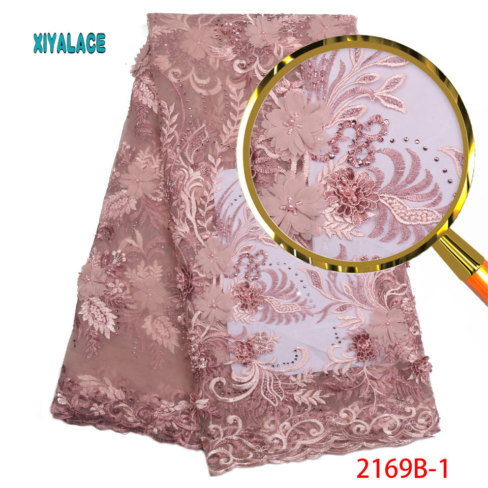 Latest African French Lace Fabric High Quality 3d Embroidery Tulle Lace Fabric Nigerian Wedding Beads Lace
