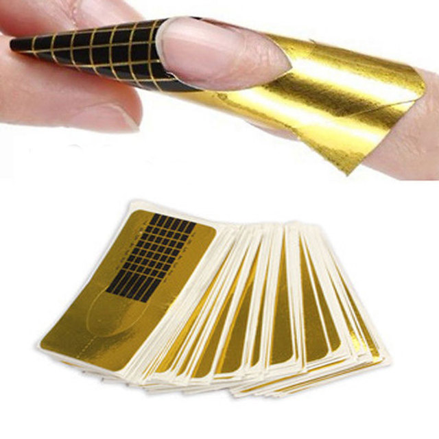 100 piezas Gel extensiones de uñas pegatinas de uñas de Arte de acrílico profesional rizo de la forma de U francés consejos guía formas de uñas estilo herramientas