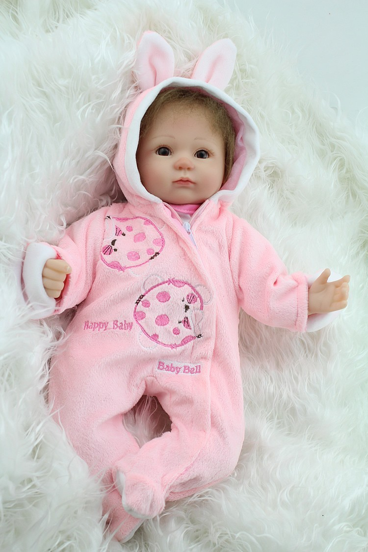 17 Inch Soft Silicone Reborn Baby Dolls Baby Alive Doll For Girls Handmade Vinyl Stuffed Toys Realistic Reborn Doll Big Eyed stuffed toys about 55cm npk bonecas silicone reborn baby dolls safe and big eyes for 22inch soft vinyl alive baby toy for girls