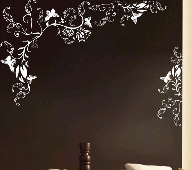 2011 NEW! Flower,butterfly PVC Living room,bedroom wall sticker/ wallpaper/wall covering/glass sticker for retail and wholesale