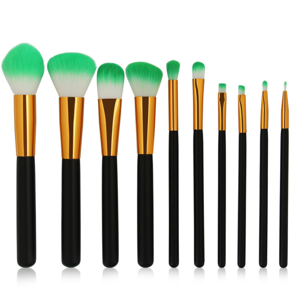10Pcs Professional Makeup Brush Set Eyebrow Eye Shadow Blush Powder Brush Gold Sliver Aluminium White Black Make Up Brushes