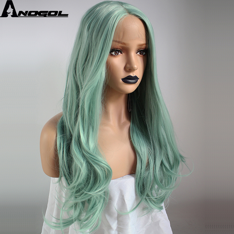 Anogol High Temperature Fiber Perruque Peruca Cabelo Long Natural Wave Green Full Hair W ...
