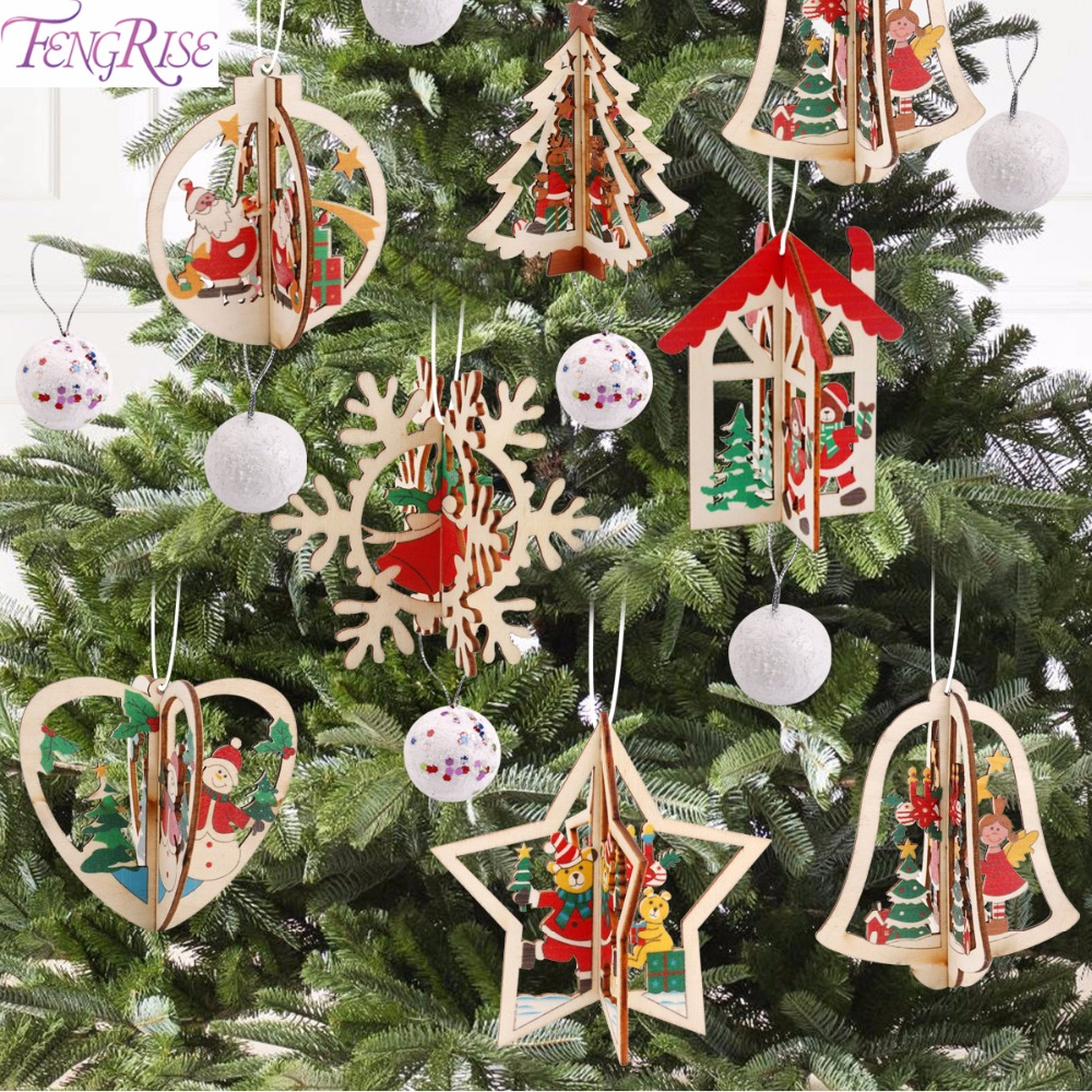 Fengrise Diy Felt Christmas Tree Kids Artificial Tree Ornaments Christmas Stand Decorations Gifts New Year Xmas Decoration Fengrise 3d Christmas Wooden Pendant Christmas Tree Ornament Diy
