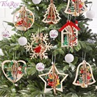 FengRise 3D Christmas Wooden Pendant Christmas Tree Ornament DIY Santa Xmas Tree Decor for Home Party New Year Wood Pendant Kid
