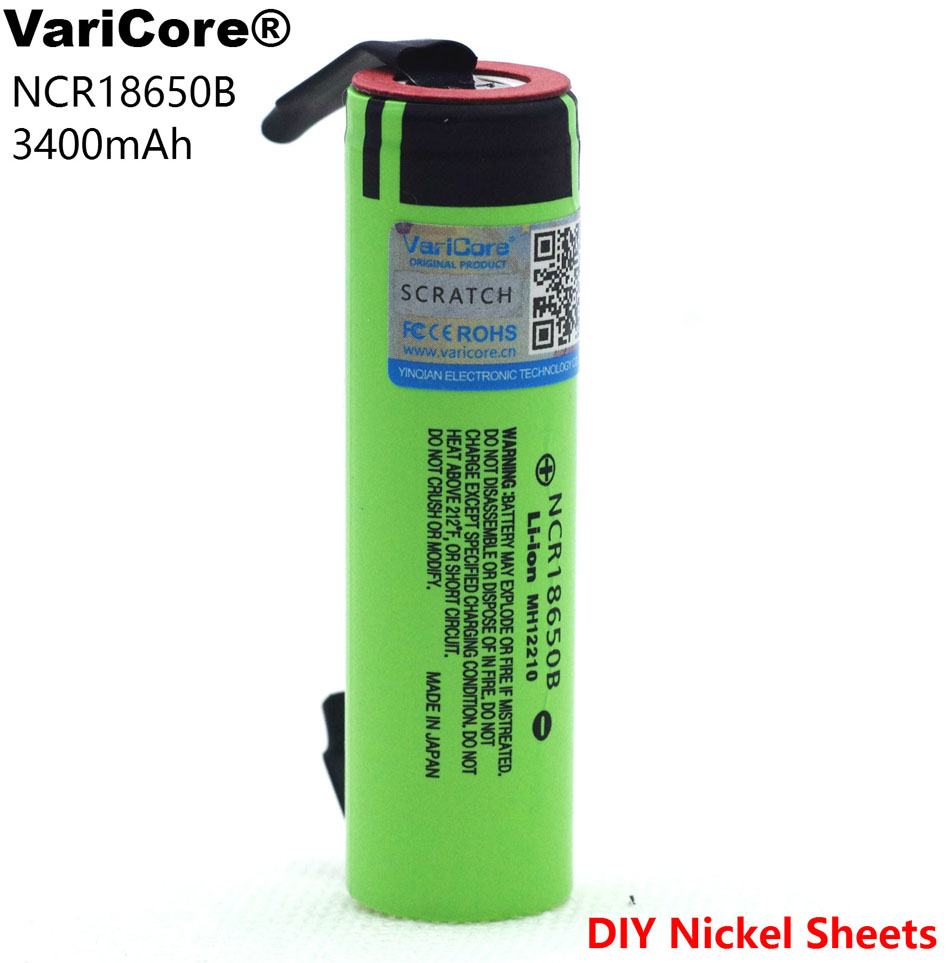VariCore protected for <font><b>Panasonic</b></font> <font><b>18650</b></font> 3400mAh battery <font><b>NCR18650B</b></font> with original Suitable for flashlights + DIY nickel pieces image