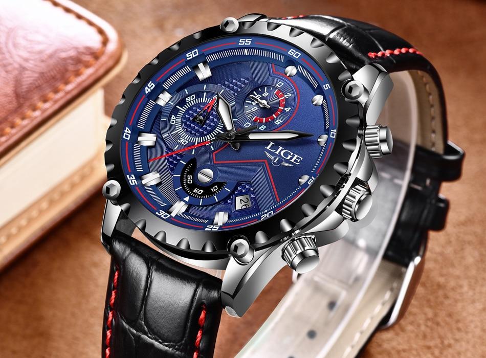 superior de luxo relógio couro masculino esporte