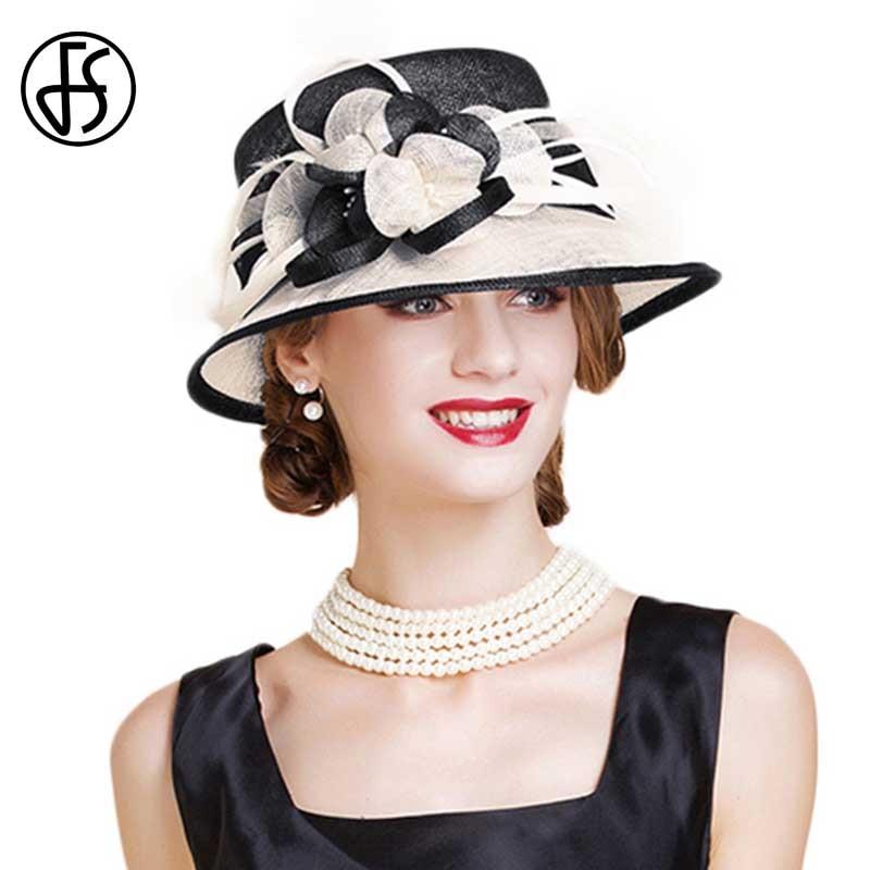 Sombrero de boda de Sinamay británico para mujer Iglesia Flor de ala ancha azul blanco Lino Fedora elegante 2018 mujeres Kentucky Derby H - 2