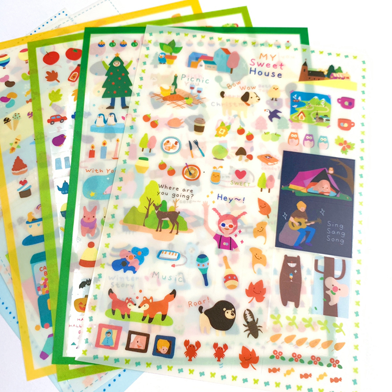 6 Sheets /Pack Forest Life Christmas Stickers Adhesive Decor Stick Label Phone Notebook Diary Decorative Student Stationery