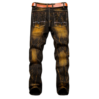 2018 Mens Pants Washed Distressed Moustache Effect Jeans Males Casual Street Jeans with 42 Size