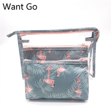 Want Go New Arrive Flamingo Cosmetic Bag Set 3 Women Necessaire Make Up Travel Waterproof Portable Makeup Toiletry Kits
