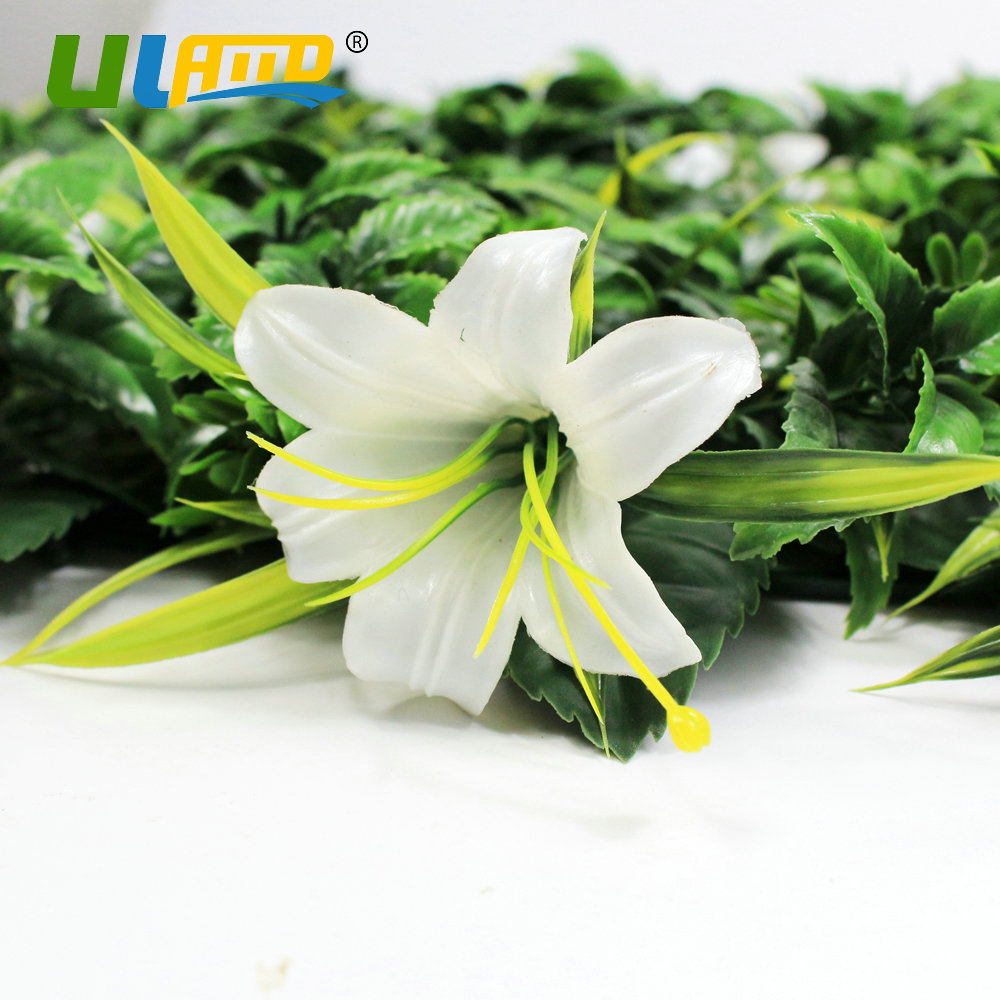 Uland artificial boxwood hedge plastic ivy leaves white lilies uland artificial boxwood hedge plastic ivy leaves white lilies flower topiary fence balcony garden decor green wall 50x50cmpc in fencing trellis gates izmirmasajfo