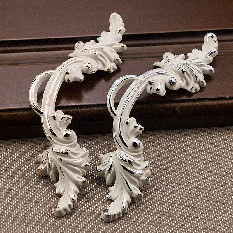 """1pcs 2.5""""pull handles shabby chic dresser drawer knob white silver rustic kitchen cabinet handle"""