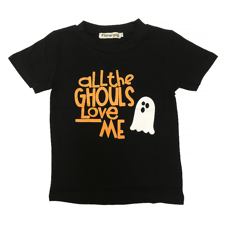 Tops Kids T-Shirt Halloween All-The-Ghouls Short-Sleeve Funny Print Floral Love Me Boy