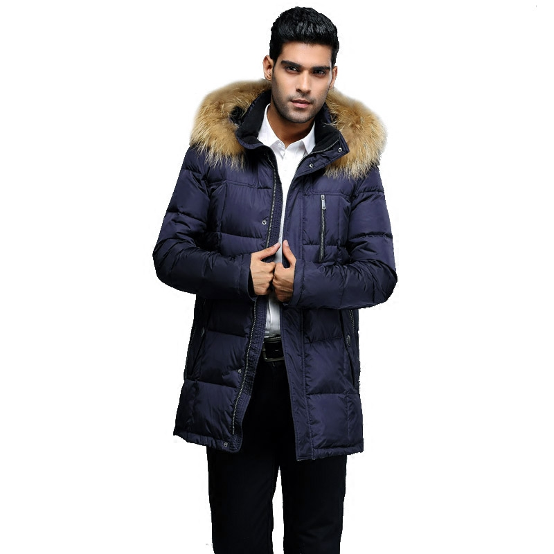 winter men down jacket Europe and USA Minus 40 degrees warm coat Really raccoon fur collar coat plus size 48-56 G318