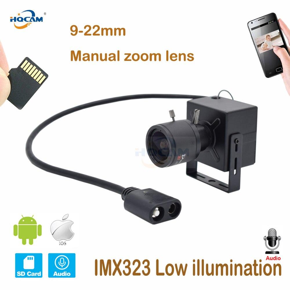 HQCAM CamHi IMX323 Low illumination1080P Audio Mini WIFI IP Camera indoor Wireless Surveillance 9 22mm lens