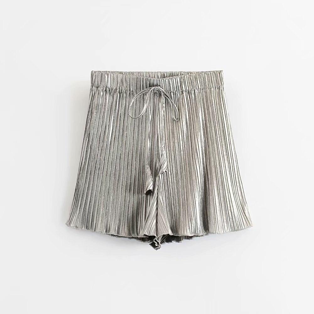 2019 Women Fashion Solid Color Agaric Lace Pleated Shorts Ladies Elastic Waist Short Pants Chic Holiday Pantalones Cortos P355