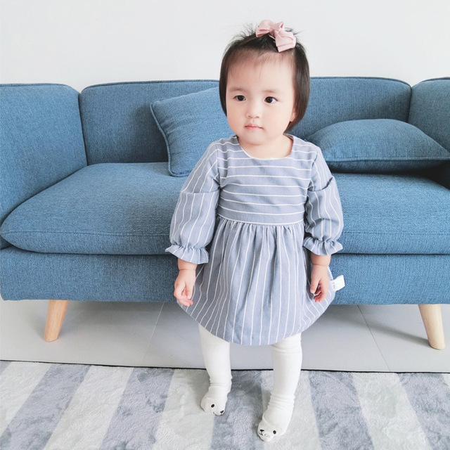 Infant Baby Girl Cotton Tutu Dress Newborn Kid Robe Long Sleeve Striped Dress Rabbit Sundress Toddler Vestido Children Clothes