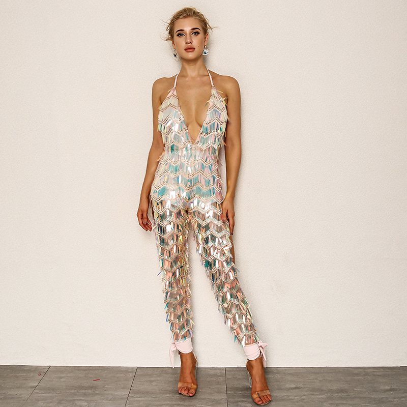 f3f3e69b3124a Joyfunear 2018 Latest Autumn Sexy Rompers Womens Jumpsuit Backless Bodycon Jumpsuits  V Neck Bandage Overalls Clubwear wholesale-in Jumpsuits from Women s ...