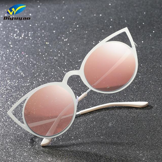 d8791e6cd405 DIGUYAO High Quality Fashion Women Sunglasses Cat Eye Mirror Glasses Metal  Frame Cat Eye Sun Glasses