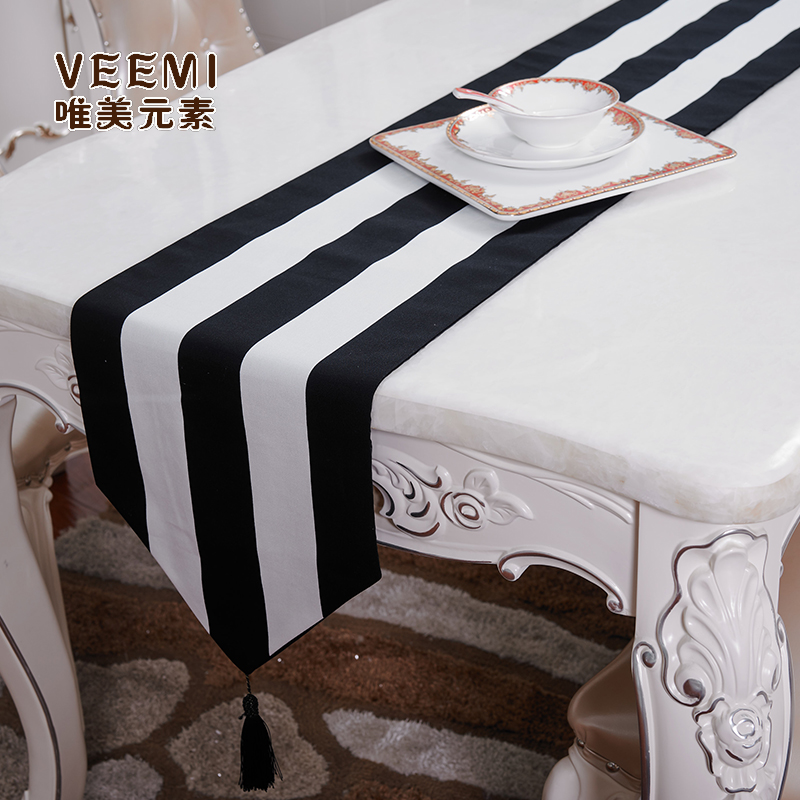 Black And White Striped Table Runner  Thickening 100% Cotton Canvas Wedding Shoe Cabinet Flag Hotel Bed Runner With Tassels