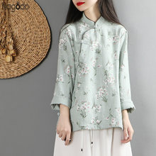 Nagodo Traditional Chinese Style Linen Top Ethnic Clothing button Zen Tea Shirt Women Print Flower Chinese Clothings Tunic Top(China)