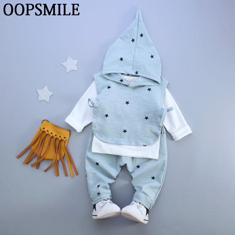 Spring Baby Boy Clothes Set  Overall suit O-neck  Shirt+Hoodie Vest+Trousers 3pcs Baby Sport Casual girls Suit roupas de bebe 2pcs set baby clothes set boy
