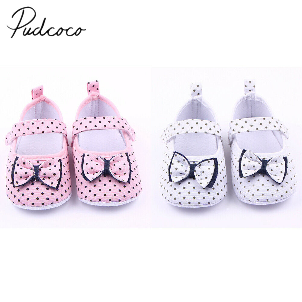 Shoes Toddler Newborn Baby Girl Crib Sole Boy for 3-12months Sneaker Dot Anti-Slip Bowknot