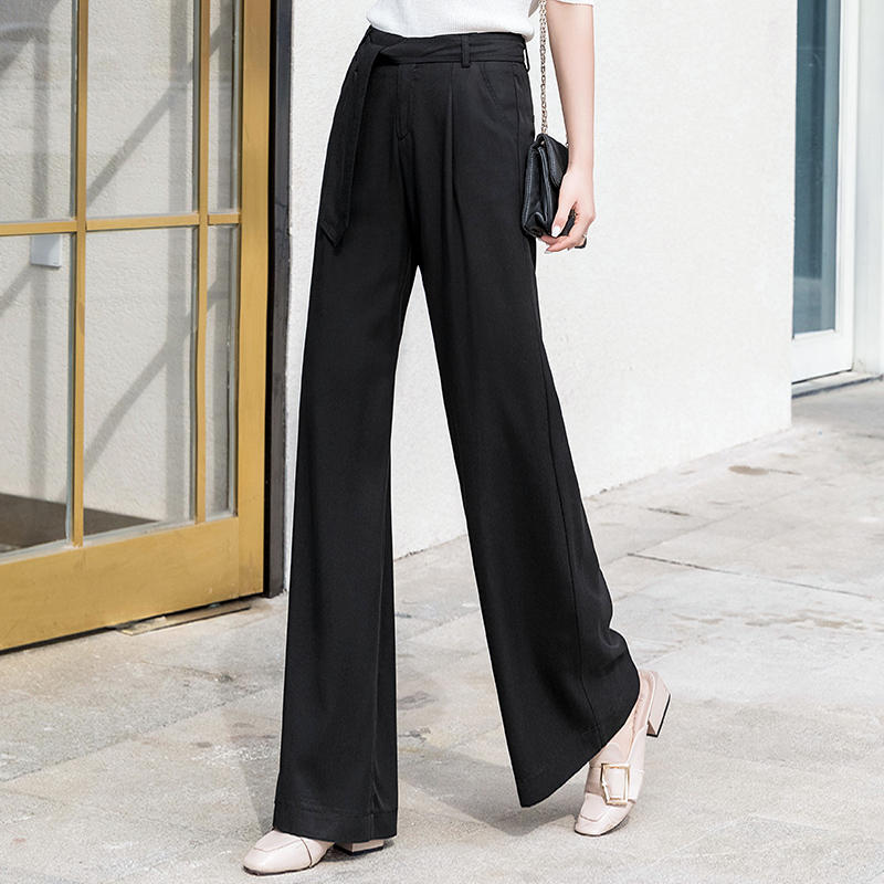 black   wide     leg     pants   with sashes women summer casual loose elegant palazzo   pants   streetwear gothic new trousers women plus size