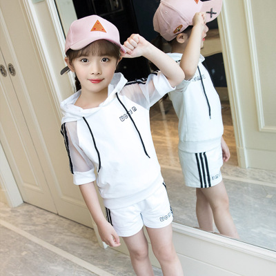 Owligbaby 2018 summer new style hooded T-shirt + shorts hollow hit color ribbon casual sports baby girl suit 33CS0518