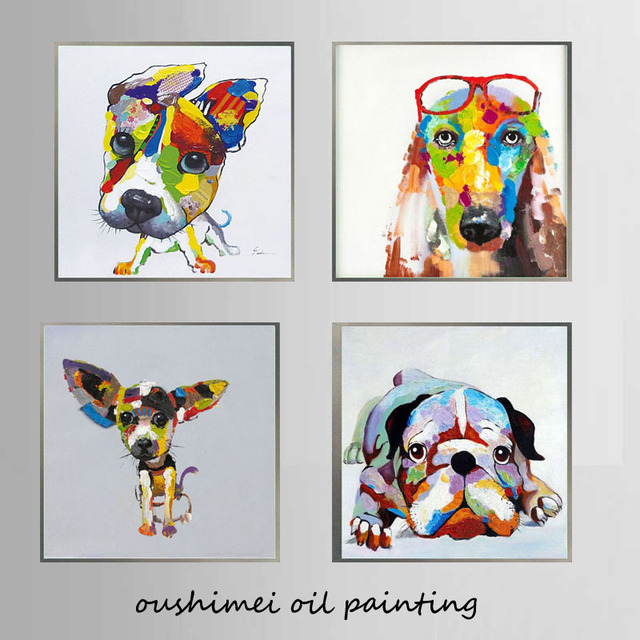 Artist Hand Painted High Quality Modern Abstract Dog Wall Art Painting  Funny Cool Animal Oil