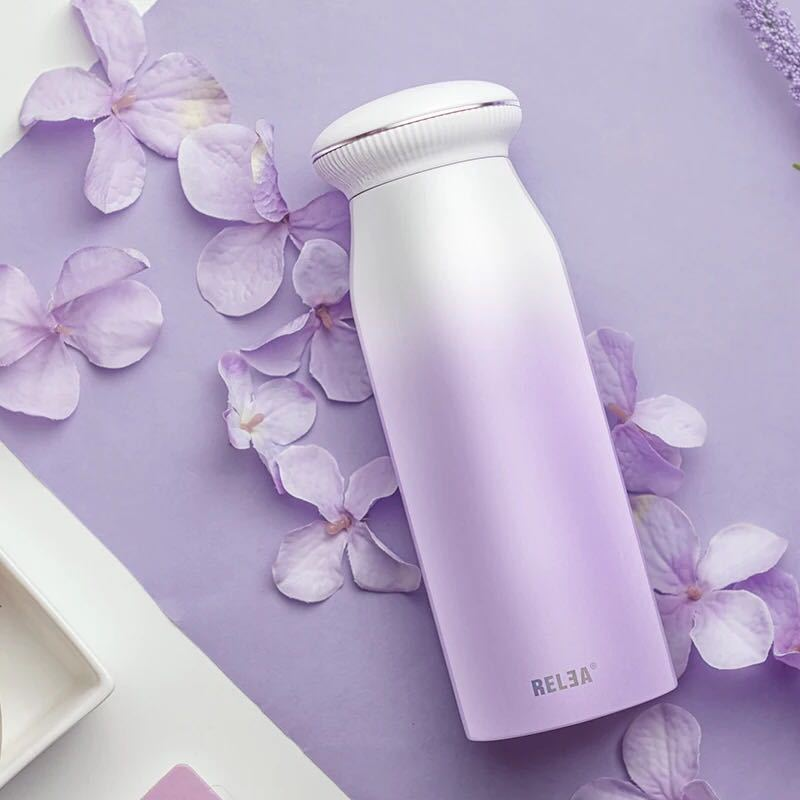 Colleer 380ml Thermos Bottle Gradient Color Shell Shape Double Layer Vacuum Flasks Thermos Bottle Stainless Steel Water Bobttle
