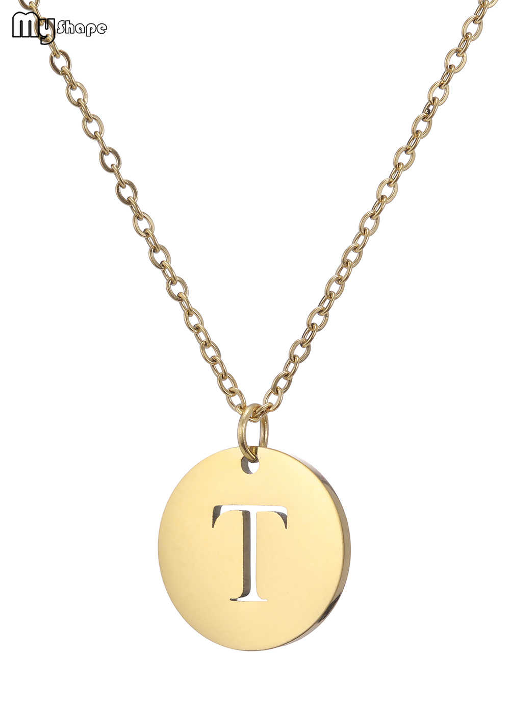 Minha forma nobre ouro e prata cor proteção colar de aço inoxidável carta n a z pingente carta colar