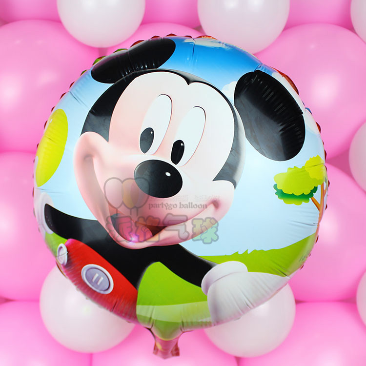 18inch 50pcs/lot round mickey minnie mouse foil balloon for child party supplies
