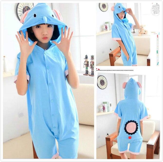 Animal Elephant Cute Cartoon Blue 100% Cotton Adult Women Men's Unisex Hooded Summer Onesie with Eers Cosplay Pajamas PyjamasL