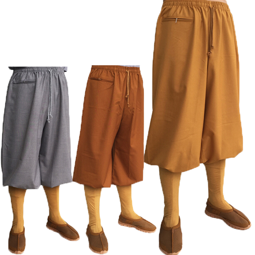 New Spring Autumn Buddhism Arhat Costume Pant Thick Monk Wushu Pants