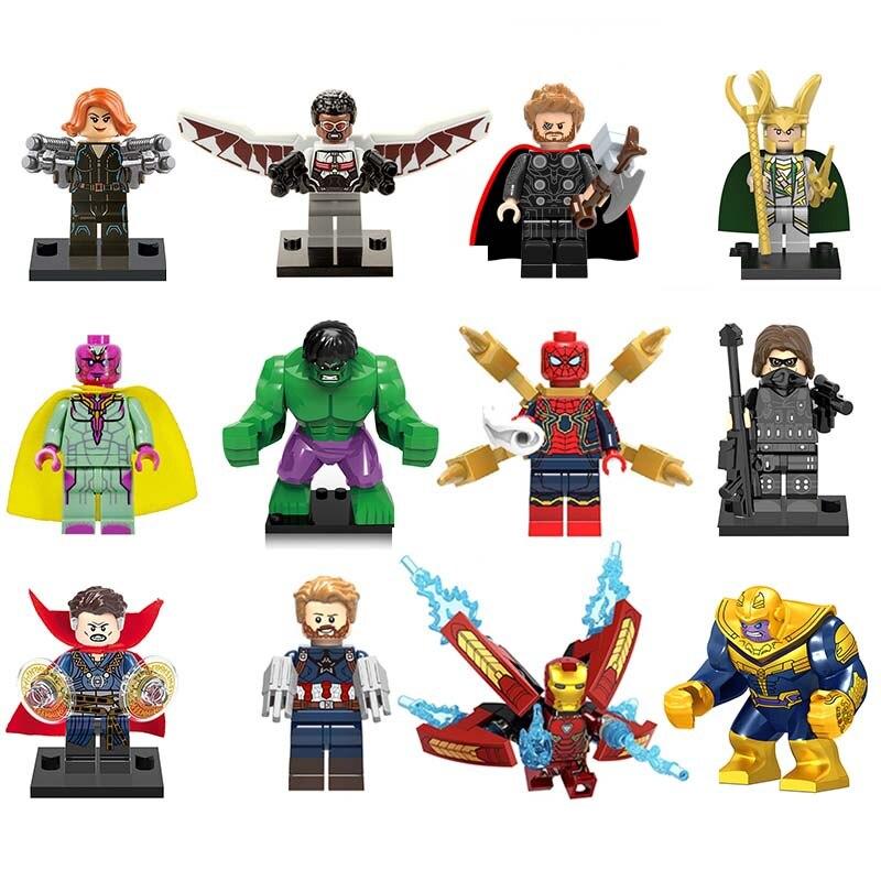 цена на Marvel Super Heroes Avengers3 Wonder Woman Thanos Hulk Loki Thor Iron Man Batman flash DC Building Blocks For lEGOED Toy Figures