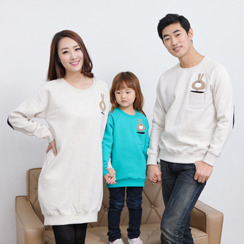 Parent-child outfit winter 2016 flocking thickening mother and daughter mother and child in the family long fleece sweater
