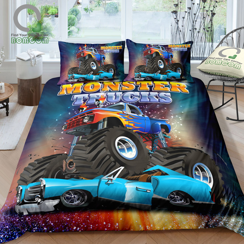 BOMCOM 3D Digital Printing Monster Truck Crushing on Car Freestyle Monster Truck Duvet Cover Sets 100