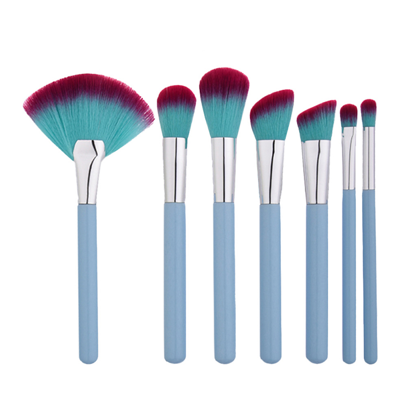 7pcs Brand Pro Makeup Brush Set Kit Foundation Powder Eyeshadow Lip Cosmetic Brushes Blending Blusher Kabuki Brush Tool Blue new lcbox professional 16 pcs makeup brush set kit pouch bag cosmetic brush kit cosmetic powder foundation eyeshadow brush tools