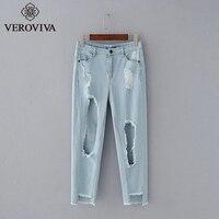 VEROVIVA Autumn Blue Denim Long Women Jeans Sexy Hole Vintage Streetwear Bottoms Bleached Female Dungarees High