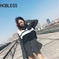 HCBLESS Fashion Spring Autumn Shirts 2017 Women Lapel Long Sleeve Personality Cuff Side Of The Fork